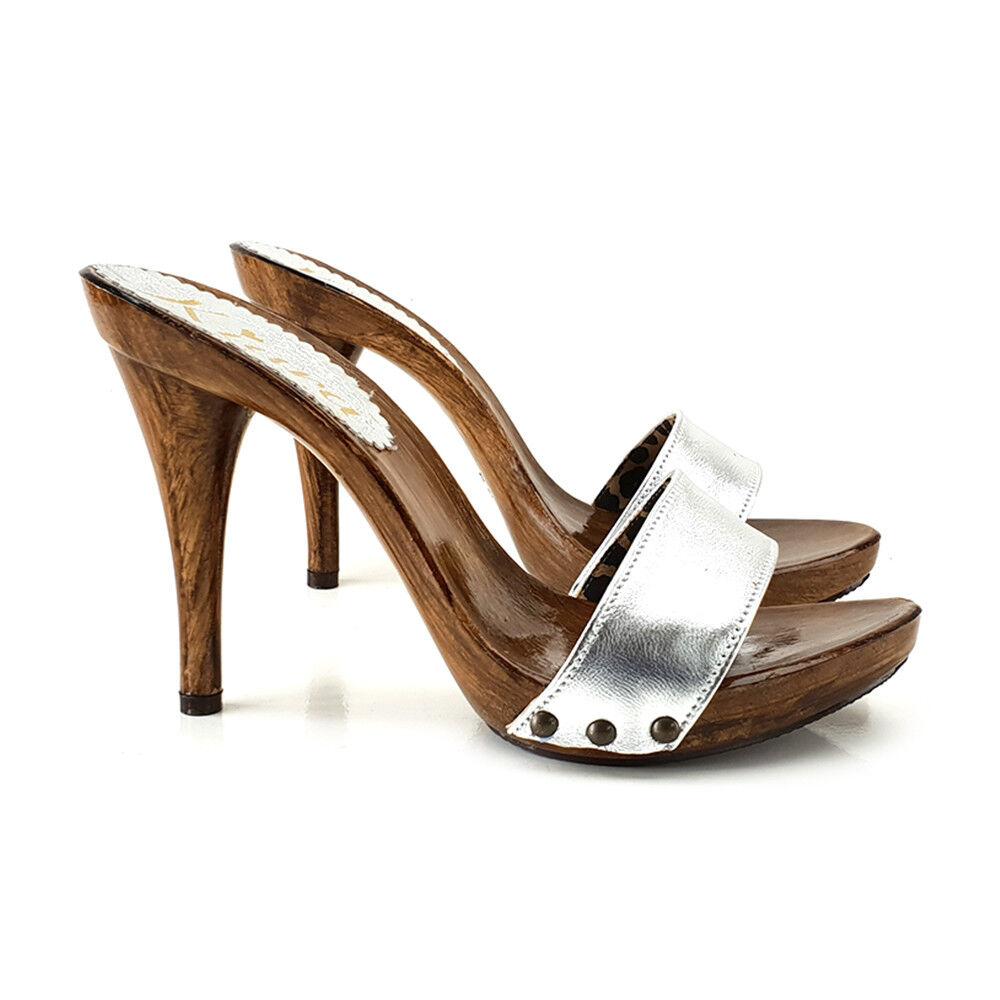 Sabots Féminin avec avec avec bande en cuir Argent Made in  35 42 - KM7103 argenté f16058