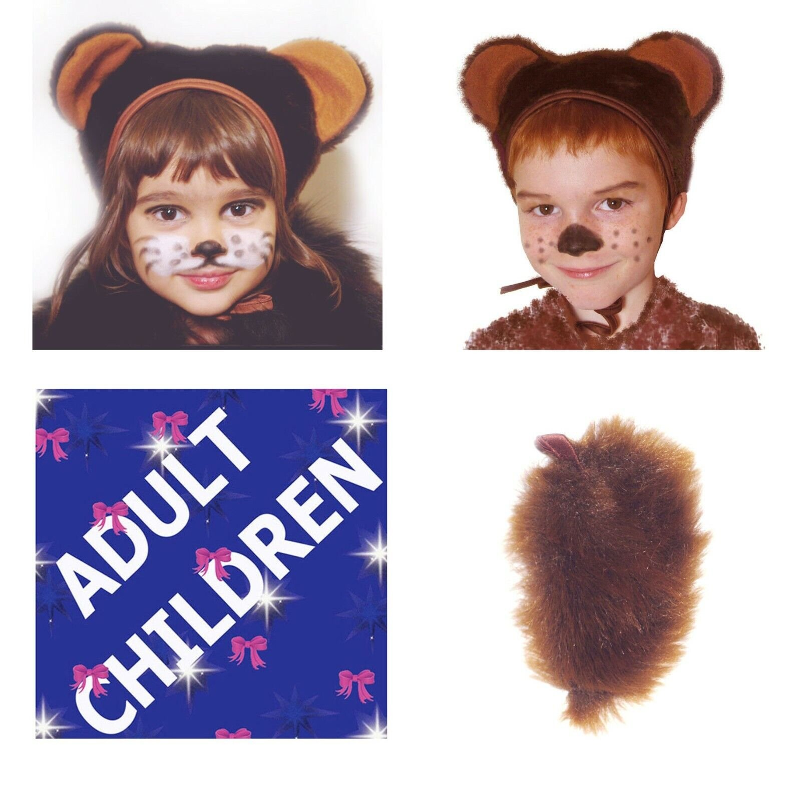 Animal Bear Fancy Dress 2 ps Set Hat Tail Children Adult Carnival Costume Party
