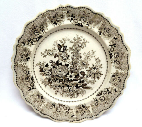 Antique CLEWS Staffordshire England 18181834 Brown Transfer Ware Plate 10 12""