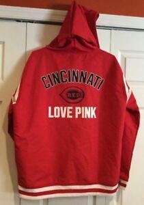 99de9a424f0e7 Details about NEW Victoria's Secret PINK CINCINNATI REDS Windbreaker Hoodie  Jacket Size Large