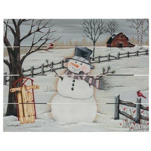 "Rustic Pallet Art Country Wood sign /""IN THE MEADOW SNOWMAN/"" Christmas home decor"