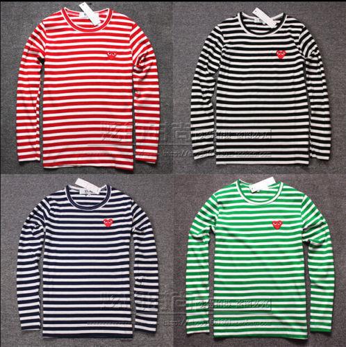 Mens Women Striped Red Heart Long Sleeve Crew Neck Tee Cotton T Shirt Coat HOT