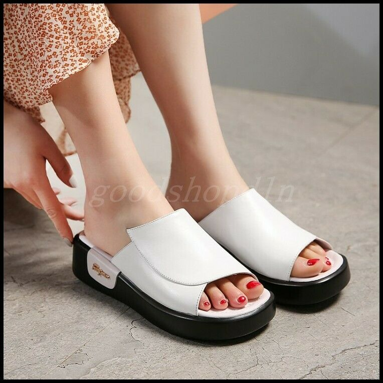 New Womens Leather Open Toe Slipper shoes Summer Casual Flats Platform Sandal SZ