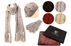 f2f431bd00e847 Das Bild wird geladen Cadriano-3teiliges-Set-Damen-Winterset-Muetze-Schal- Handschuhe