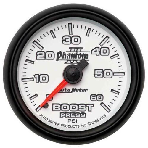 """Autometer Phantom II 2-1//16/"""" Boost 0-60 PSI Gauge"""