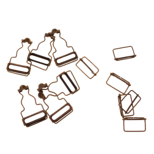 Set of 6 Bronze Dungaree Fasteners Overall Clips Brace Buckles Adjuster 27mm
