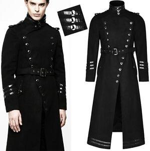 Manteau évasé militaire gothique punk bandes ceinture hiver