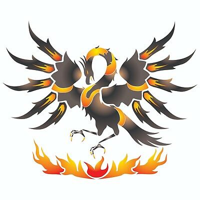 Phoenix Stencil Reusable Wall Painting Furniture Fabric Decoration