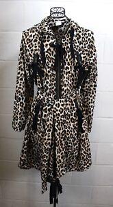 RED-VALENTINO-Leopard-Animal-Print-Brown-Black-Bow-Rain-Coat-Trench-Jacket-48-10