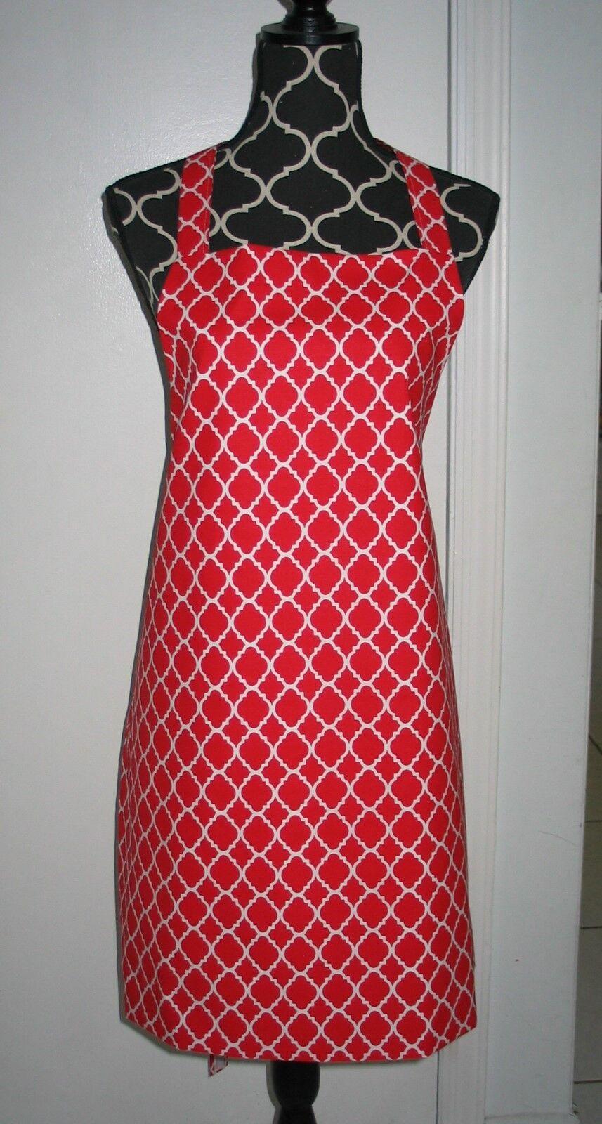 Lot de dix Handmade pleine longueur Adulte Tablier-QF Rouge & Blanc - 50 Dollars d'épargne