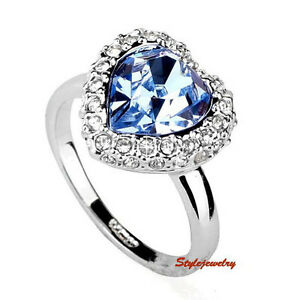 bffcd8dd4 White Gold Plated Blue Women Love Heart Ring Made With Swarovski ...