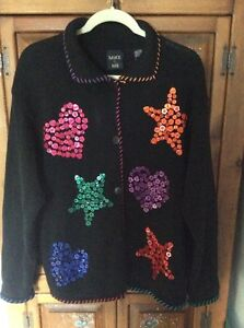 Buttoned Sweater Me Sz L Mike Stars Hearts And Black Disegni Coloured Cardigan UB7qgfw4