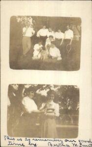 Women-w-Cats-amp-Dog-Tennis-Court-Lowell-MA-1907-Cancel-Real-Photo-Postcard