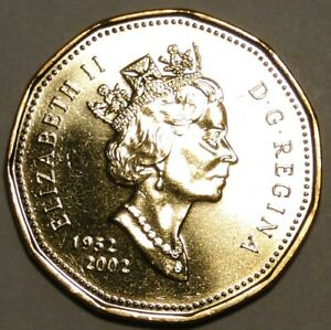 VERY-LOW-MINTAGE-BU-UNC-Canada-1952-2002-Golden-Jubilee-loonie-1-dollar-coin