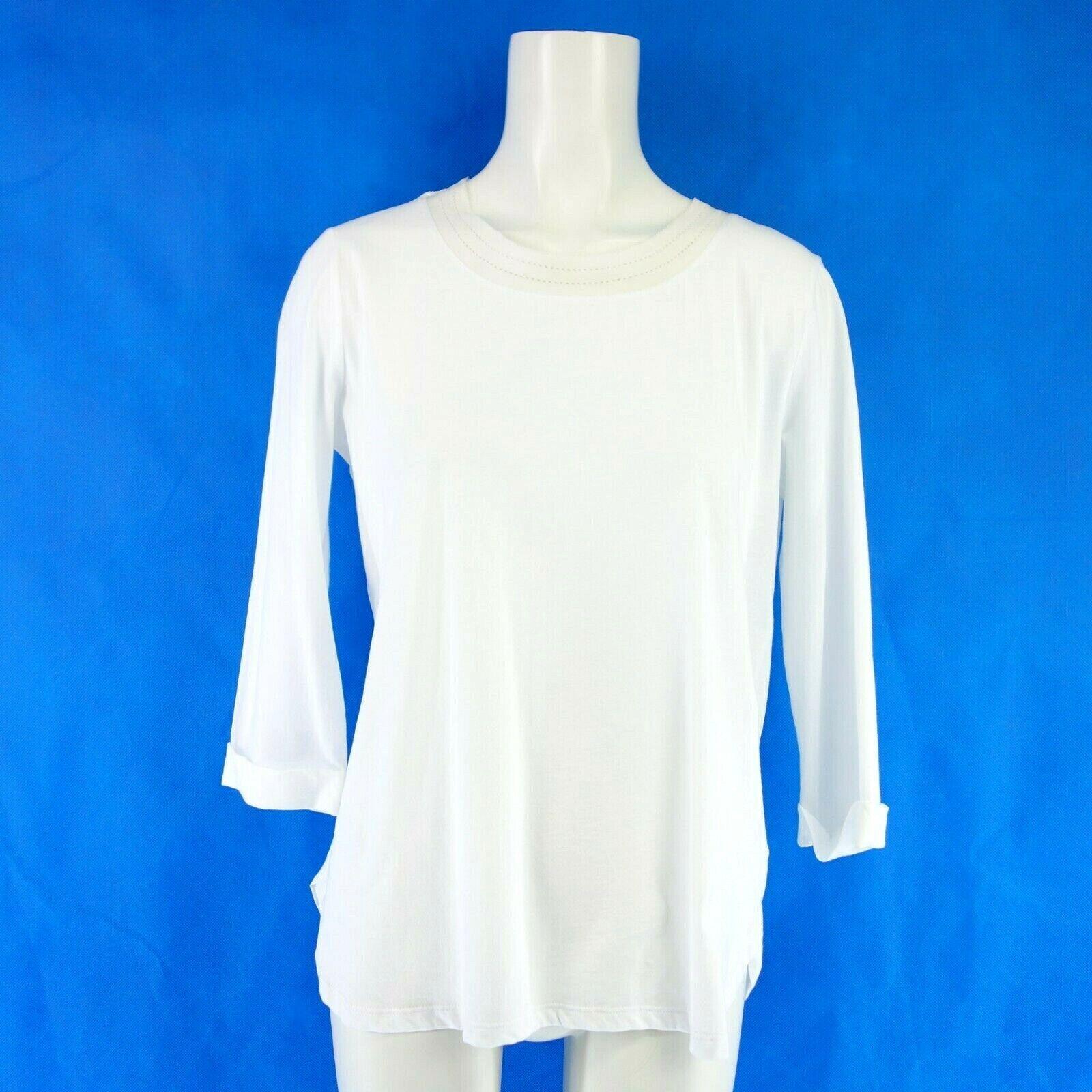 Bogner Donna Shirt Sahara 38 M Bianco Cotone Girocollo ornamentali punta NP 149 NUOVO