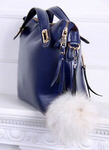 Real Fur Bag Charm Fur Keychain Fur pom pom Fur Ball (White)  14a7e896e5468