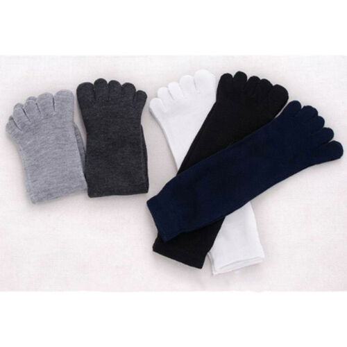 Solid Color Men's Tube Socks Five Finger Socks Warm With Soft Cotton Polyester F