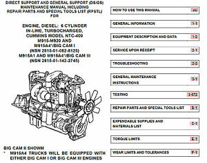 Details about 940 page CUMMINS NTC-400 I6 Repair Parts Maintenance Engine  Manual on Data CD
