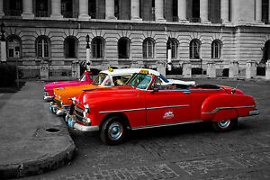 WOW!!!! FACTOR WHEN FRAMED LARGE CLASSIC VINTAGE CARS SHOTS CUBA