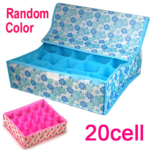 20 Slots DIY Grid Underwear Sock Tie Storage Organizer Drawer Bra Pants Divider