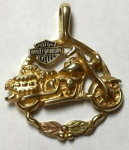 10k harley davidson pendant black hills gold leaves for Harley davidson jewelry ebay