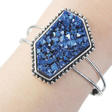 Vesta Collection Royal Blue  Drusy Agate Resin Silver Open Cuff Bangle Bracelet