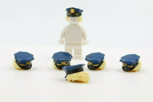 6 LEGO HAIR HEADGEAR POLICE HAT HAIR ATTACHED BADGE BRIGHT YELLOW PONYTAIL
