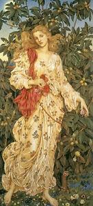 Handpainted-Oil-painting-female-portrait-Nice-fairy-girl-Flora-in-spring-field