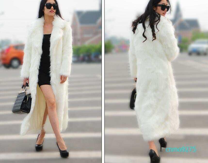 New Women Long Faux Fur Coat Lapel Winter Coat Ladies Outwear Coat Warm Oversize