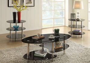 3 Pcs Tri Level Black Glass Oval Cocktail Coffee Table End Table Set Metal Base 742169035669 Ebay