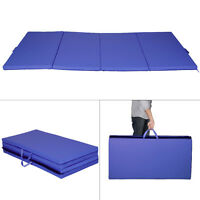 8ft Folding Gymnastics Tumble Floor Mat Yoga Exercise Fitness Pilates Gym Blue