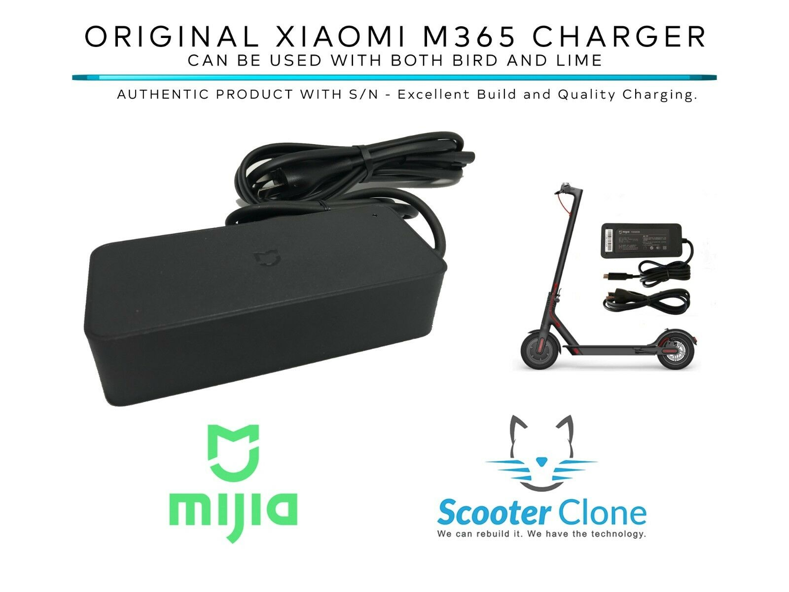 US SELLER - ORIGINAL Xiaomi M365 Battery Power Charger used for BIRD   LIME