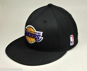 65b166a0 Adidas NBA Los Angeles Lakers Fitted Black Hat Cap Basketball Flat ...