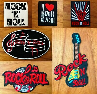 I LOVE ROCK AND ROLL SLIGHT FAULT Embroidered Iron Sew On Cloth Patch Badge
