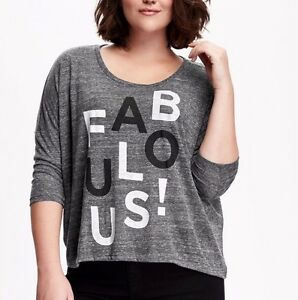 240308b9c15a9 Old Navy Heather Grey Fabulus Relaxed Plus-Size Graphic Tee T-shirt ...