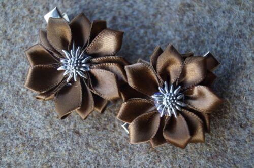 2 Stück Haarspange Edelweiß Satinblume braun Dirndl Tracht Trachtenfrisur