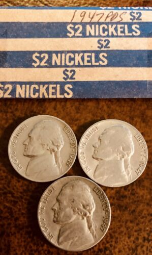 1947 PDS Jefferson Nickels Circulated