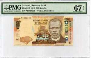 Malawi 500 Kwacha 2013 P 61 Superb Gem UNC PMG 67 EPQ