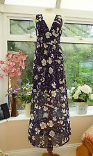"STUNNING NEW ""H&M CONSCIOUS COLLECTION"" BLACK & MULTI FLORAL MAXI DRESS Sz 12"