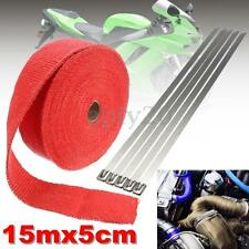 "2"" 50Ft  Fiberglass Roll Titanium Exhaust Header Pipe Heat Wrap Tape + 5 Tie Kit"