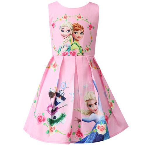 Kid Girls Frozen Anna Elsa Princess Dress Sleeveless A-Line Party Mini Dress3-8Y