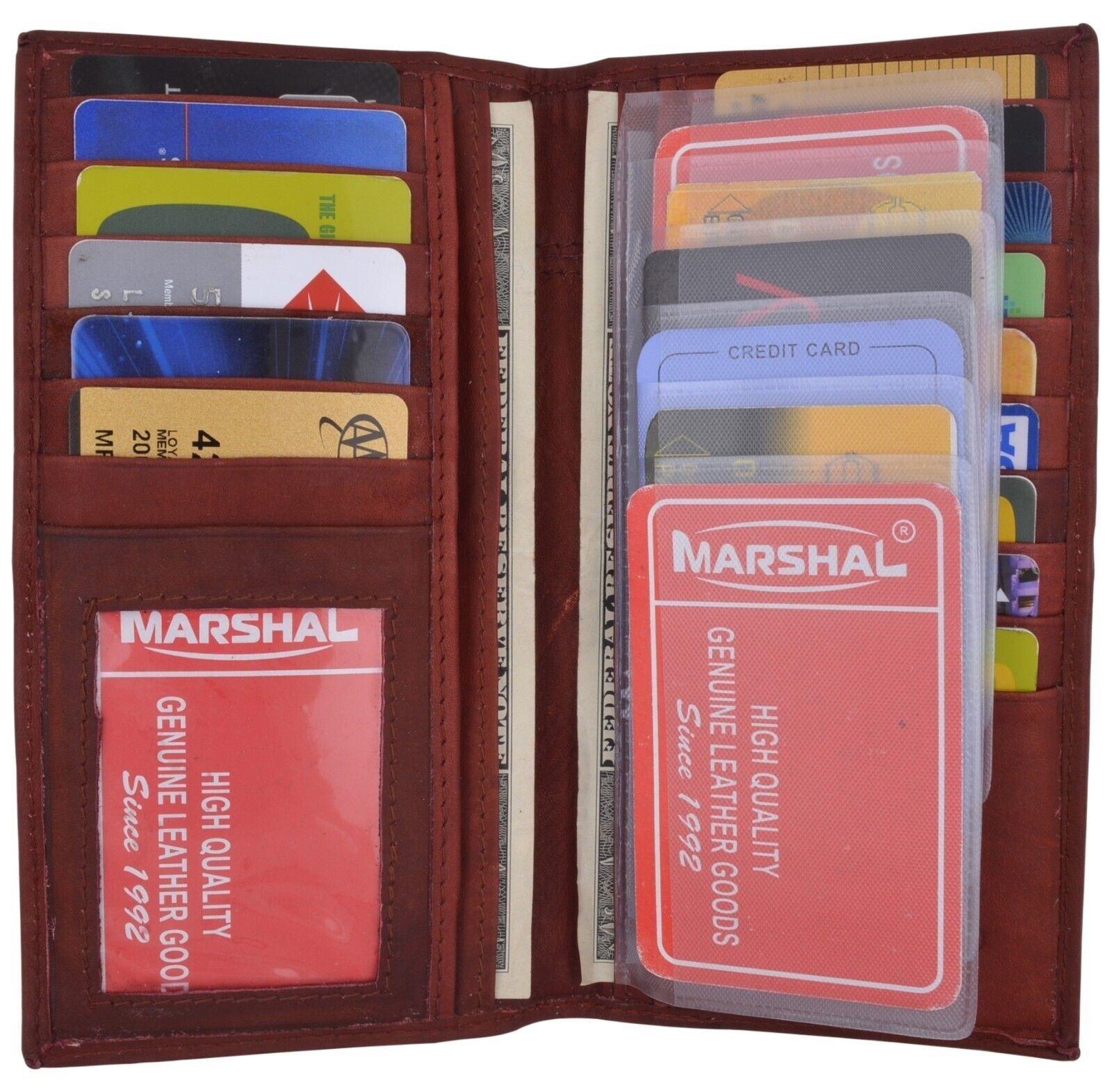 Men's Burgundy New Leather Long Wallet Pockets ID Card Clutch Bifold Purse