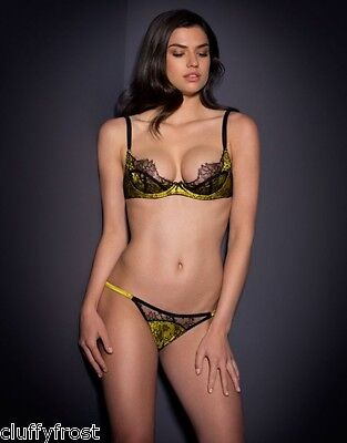 AGENT PROVOCATEUR BLACK & MUSTARD LEISA BRA MOST SIZES & 3 MEDIUM BRIEF SET BNWT