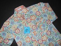 Nwt, Burma Bibas Button Front Shirt Small Cotton Nylon Blend Floral