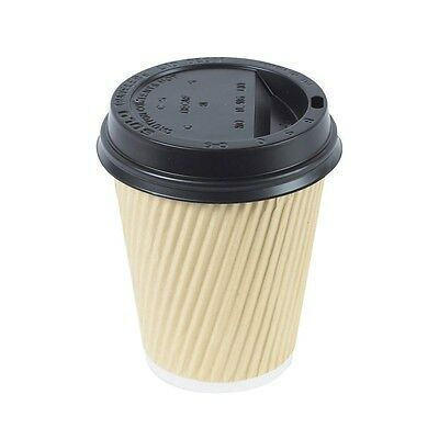 25X Ripple Brown Kraft Cup & Black Lids Insulated 8oz Coffee Tea Disposable Cups