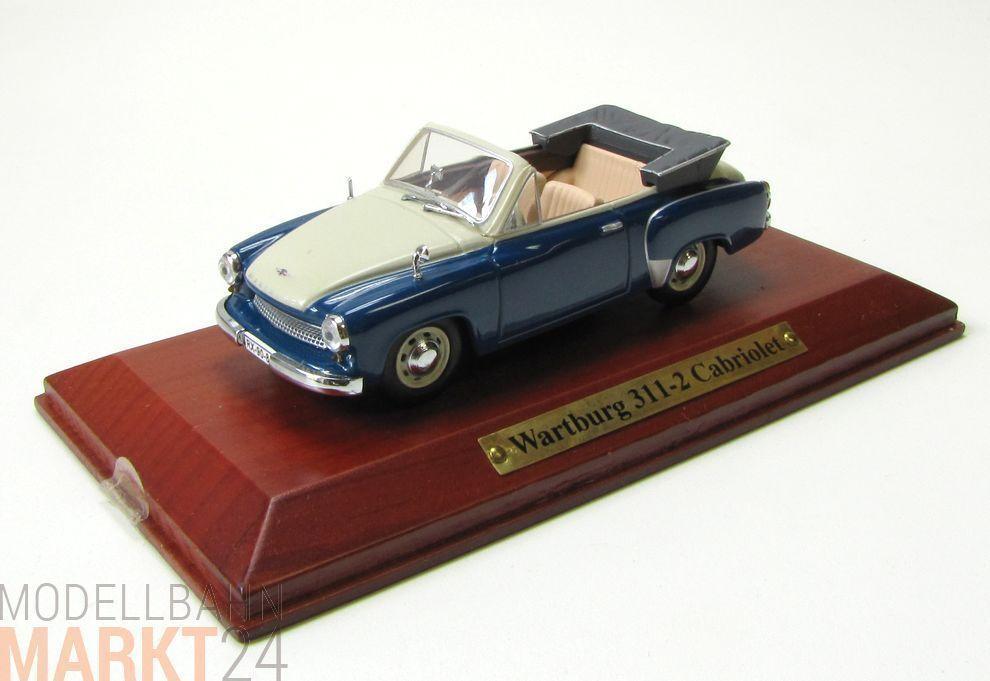 Wartburg 311-2 cabriolet en bleu ouvert capote modèle à l'échelle 1 43 - OVP