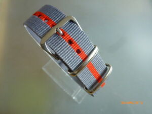 Uhrenarmband-NATOBAND-20-mm-Textil-Dornschliesse-grau-orange-grau