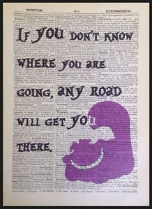 Cheshire Cat Quote Vintage Dictionary Page Print Picture Alice In Wonderland Art Ebay