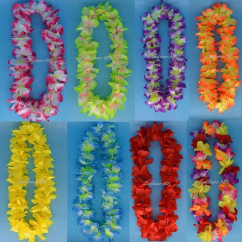 Clignotant DEL Hawaiian Fleur Leis Garland Collier Fête Hawaii Beach Fun