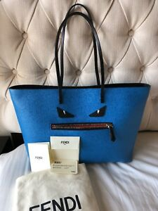 Image is loading Fendi-Blue-Vitello-Monster-Roll-Tote 8797491546fb4